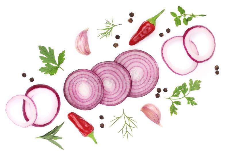 Oignons, ail, piment et épices d'isolement sur le fond blanc Vue supérieure photos stock