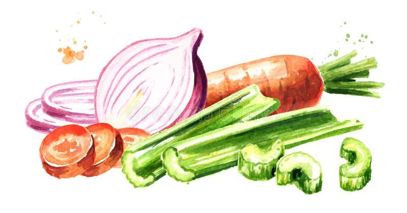 Oignons, céleri et composition en carottes Soffritto ou Mirepoix Illustration tirée par la main d'aquarelle d'isolement sur le fo illustration stock