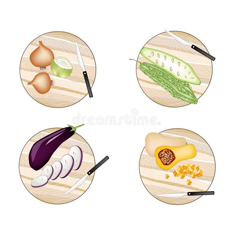 Oignons, courge amère de courge, d'aubergine et de Butternut illustration libre de droits