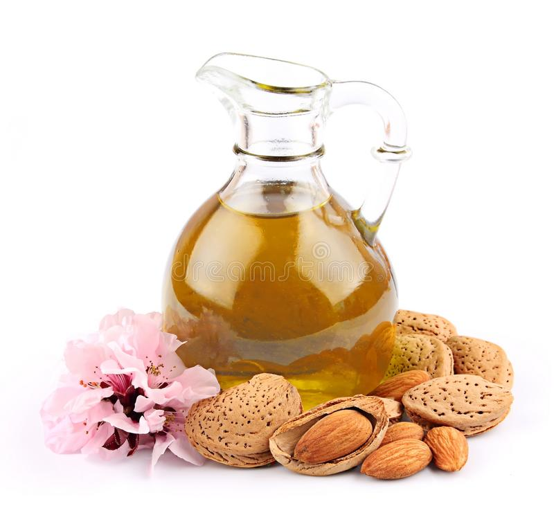 Oil of almond nut stock image