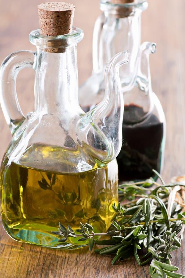 Oil and balsamic vinegar stock images