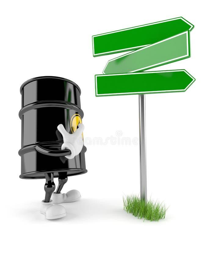 Oil barrel character blank signpost. Isolated on white background. 3d illustration stock illustration