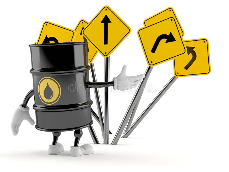 Oil barrel character confused with road signs. Isolated on white background. 3d illustration vector illustration
