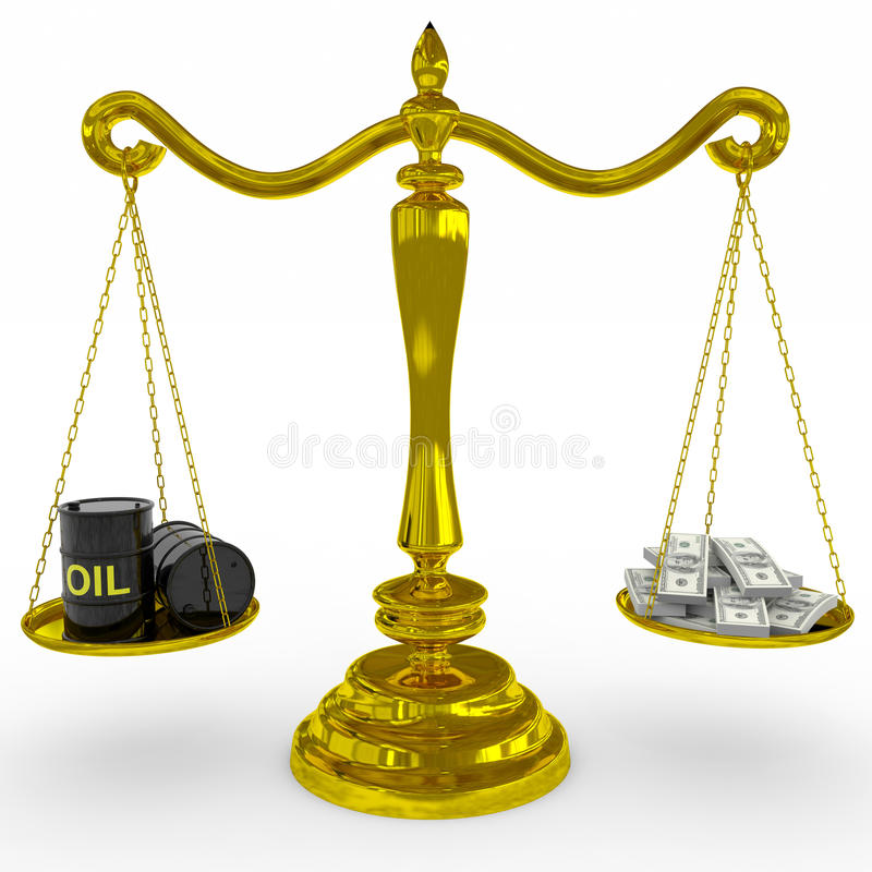 Download Oil Barrel And Dollars Sing On A Golden Scales. Stock Illustration - Image: 23641493