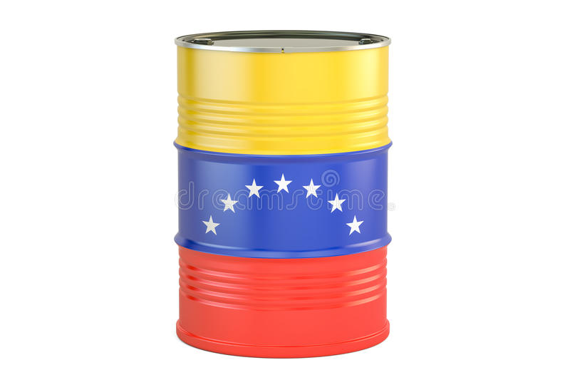 Oil barrel with flag of Venezuela. Oil production and trade concept, 3D rendering. Oil barrel with flag of Venezuela. Oil production and trade concept royalty free illustration