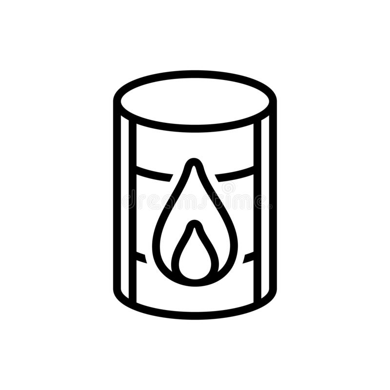 Black line icon for Oil Barrel, chemical and container. Black line icon for Oil Barrel, crisis, crude, diesel, power,  chemical and container stock illustration