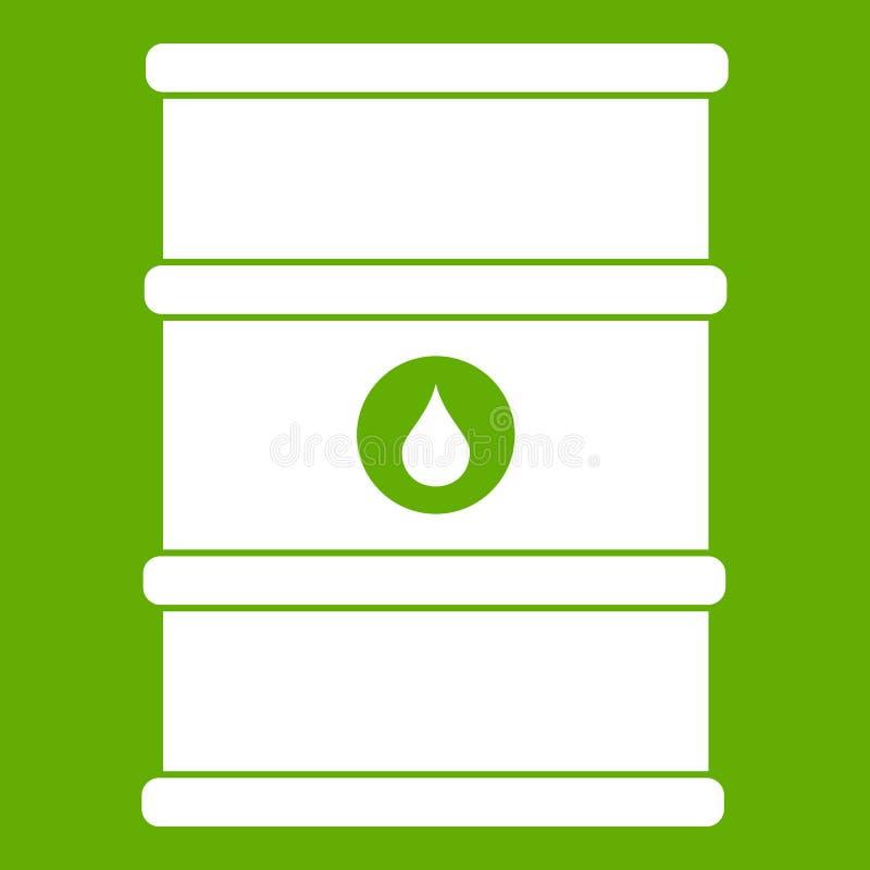 Oil barrel icon green vector illustration