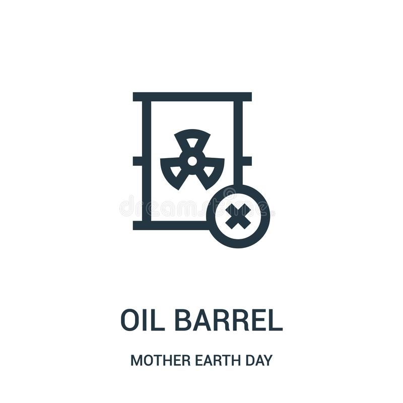 Oil barrel icon vector from mother earth day collection. Thin line oil barrel outline icon vector illustration. Linear symbol for use on web and mobile apps stock illustration
