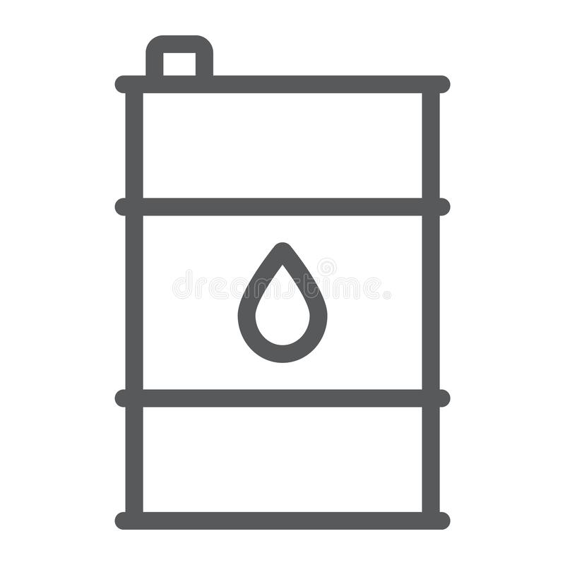 Oil barrel line icon, container and industry, oil tank sign, vector graphics, a linear pattern on a white background. royalty free illustration