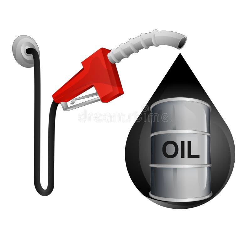 Oil barrel in oil drop with pump station vector. Illustration stock illustration