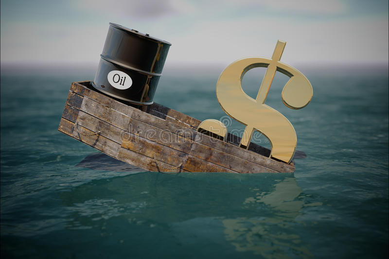 Oil barrel in water. price oil down. Crisis concept vector illustration