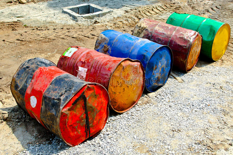 Oil barrels. Several oil barrels in very bad condition royalty free stock image