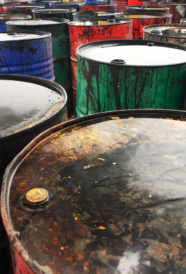 Oil barrels. Grungy and colorful used oil barrels royalty free stock photo