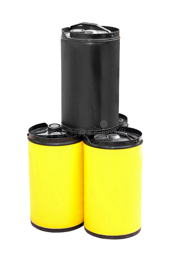 Oil barrels. Three plastic oil barrels isolated on white royalty free stock photo
