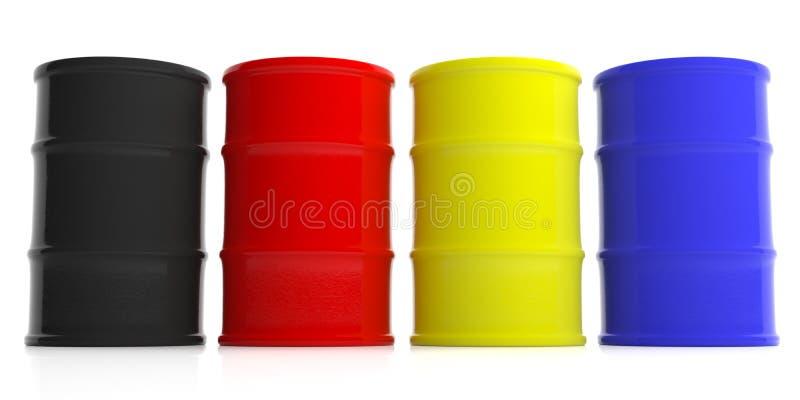 Oil barrels background. 3d illustration royalty free illustration