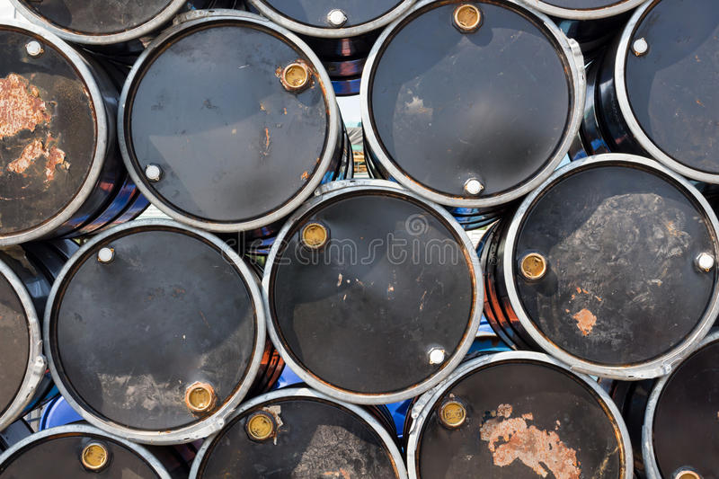 Oil barrels or chemical drums stacked up.  stock photos