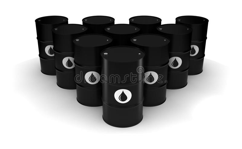 Oil Barrels. (Computer generated image royalty free illustration