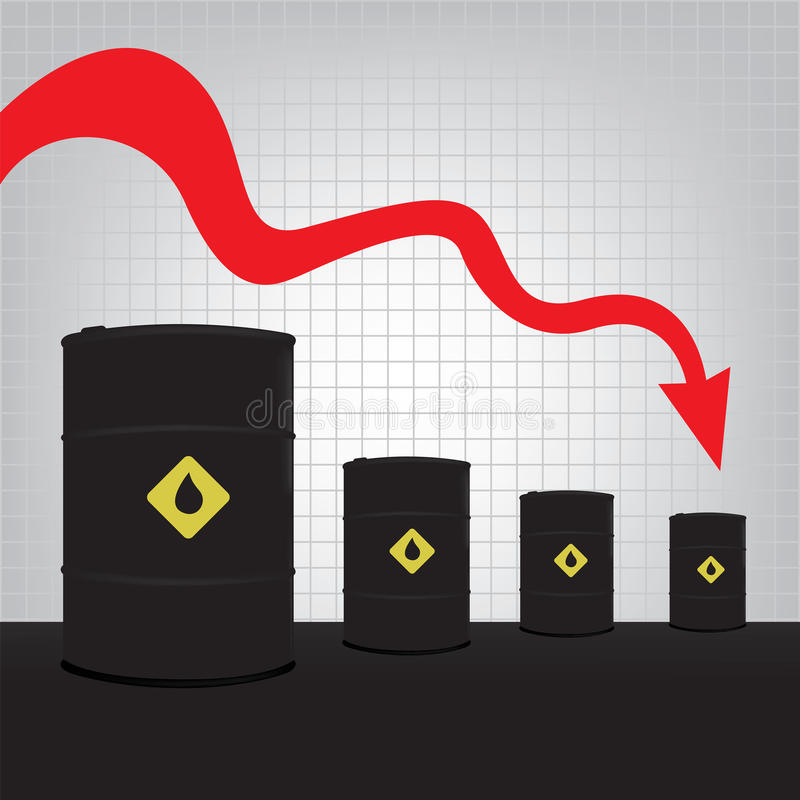 Oil barrels on Decline chart diagram and red down arrow vector illustration