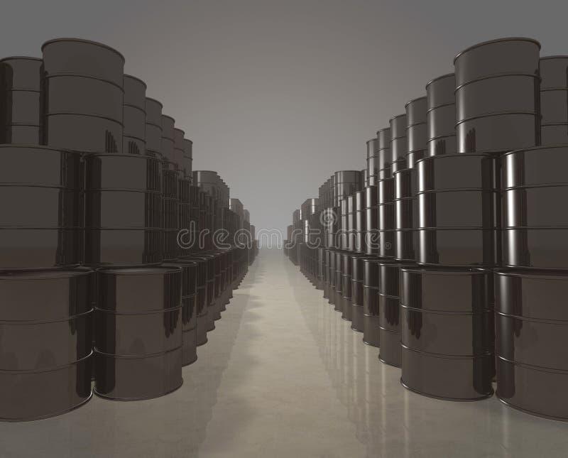 Oil barrels depot. Long stacks of petroleum barrels - digitally generated stock illustration