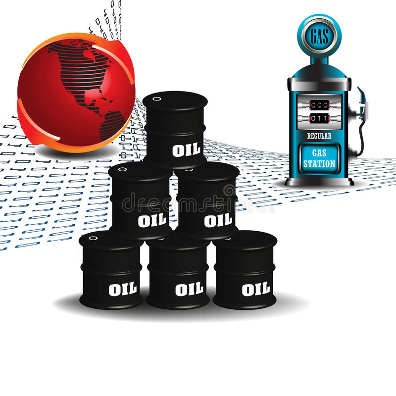 Oil Barrels And Gas Pump Stock Photography