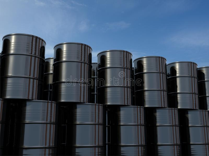 Oil barrels isolated on blue sky. royalty free illustration