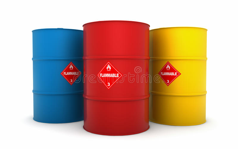 Oil barrels. Isolated on white vector illustration