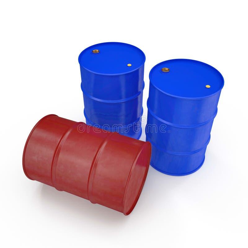 Oil barrels isolated on white. 3D illustration. Oil barrels isolated on white background. 3D illustration royalty free illustration