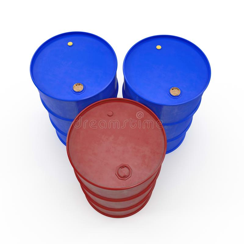 Oil barrels isolated on white. 3D illustration vector illustration