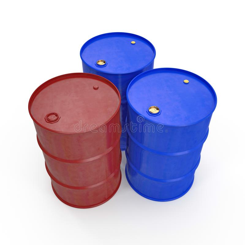 Oil barrels isolated on white. 3D illustration stock illustration