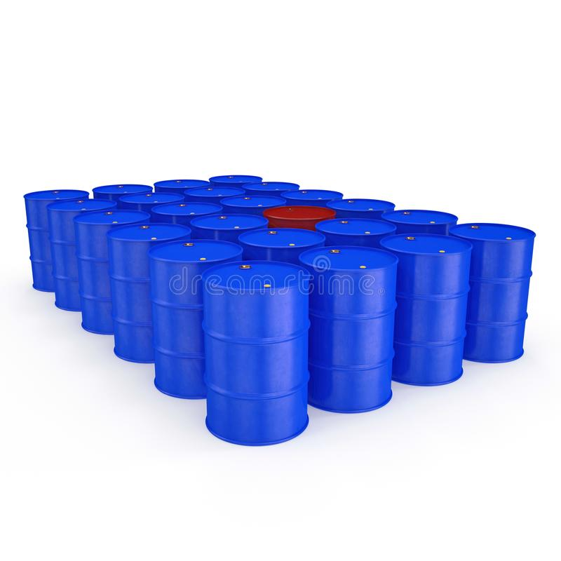 Oil barrels isolated on white. 3D illustration royalty free illustration