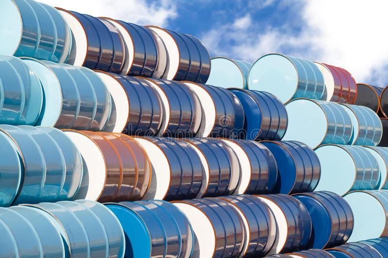 Oil barrels at oil refinery area. Stack of Oil barrels at oil refinery area stock photography