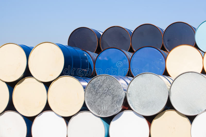 Oil barrels at oil refinery area. Stack of Oil barrels at oil refinery area royalty free stock image