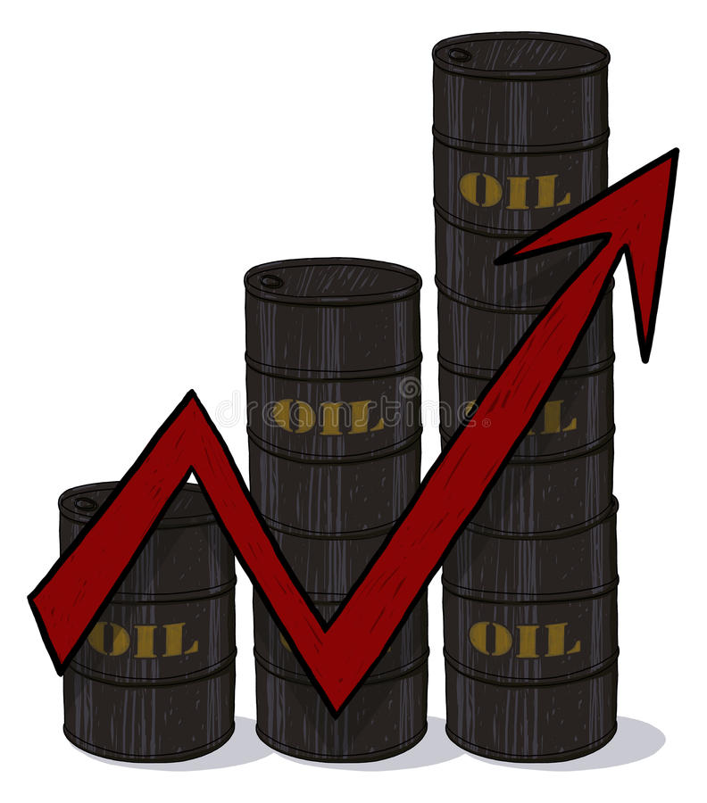 Download Oil Barrels And Red Arrow Going Up Illustration Stock Illustration - Image: 12765124