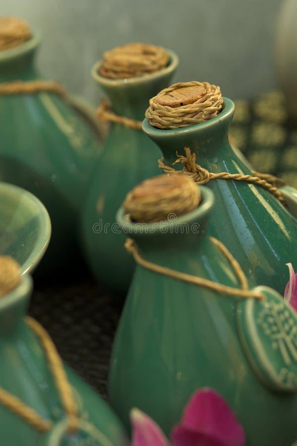 Oil bottles stock images