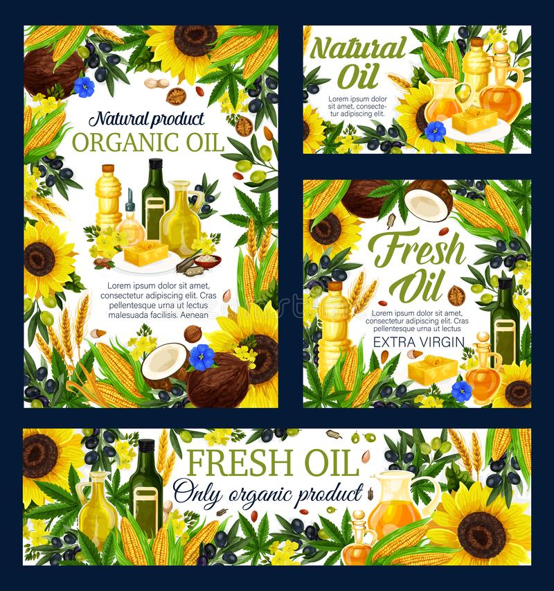 Oil bottles, olives, sunflower, corn and rapeseed. Cooking oil with vector frame of natural vegetable food ingredients. Olives, corn and sunflower, peanut vector illustration