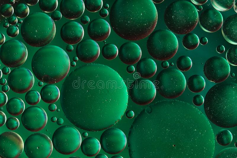 Oil bubbles macro abstract background. Green Oil and soap droplets round shape pattern smooth background stock illustration