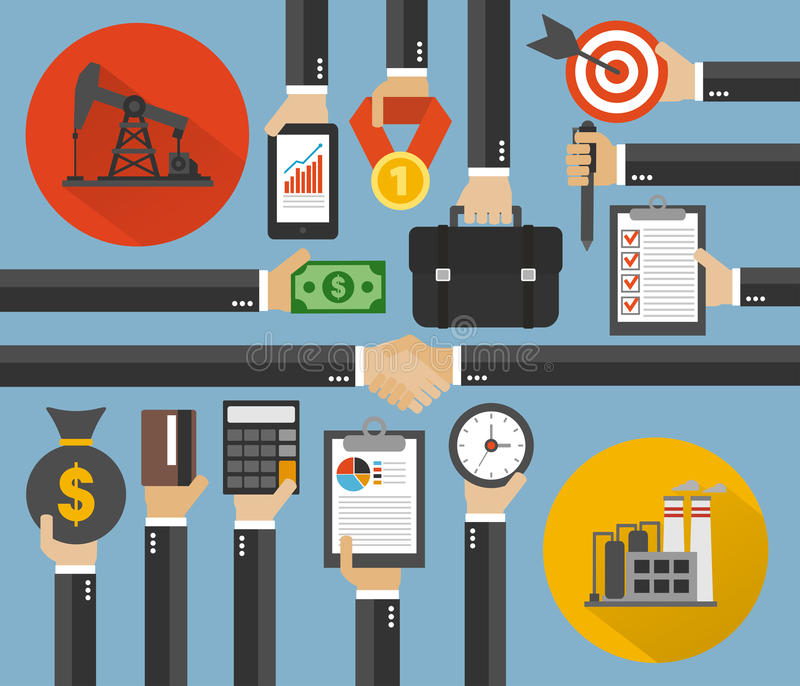 Oil Business,Management concept design flat. Oil Business,Management modern concept design flat. Vector illustration royalty free illustration