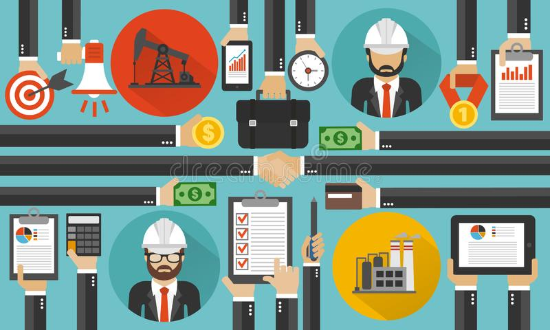 Oil business management with two managers,design fla. T.Vector illustration stock illustration