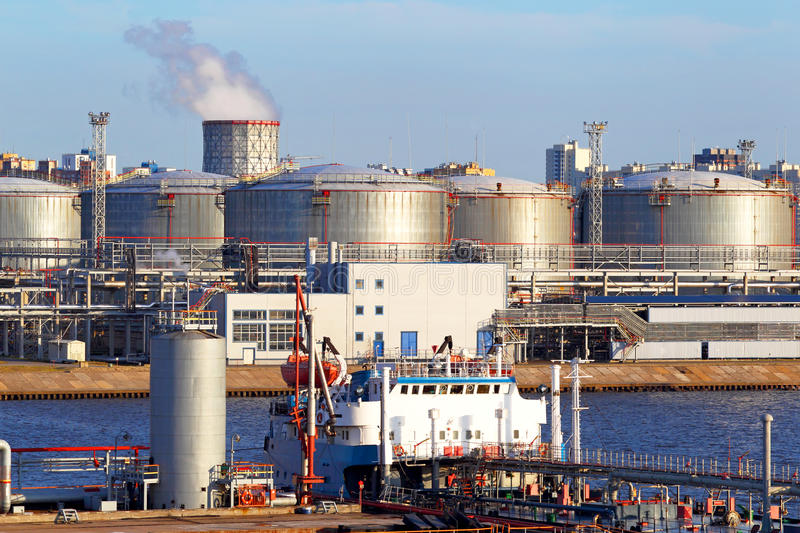 Oil business terminal. The tanker in port. royalty free stock images