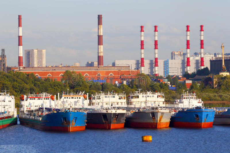 Oil business terminal. The tanker in port. royalty free stock photo
