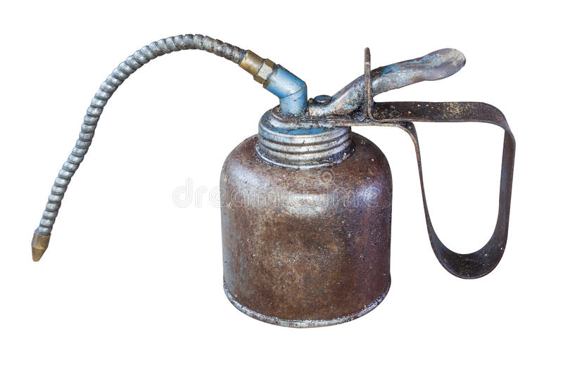 Oil can. The isolate of oil can for keeping lubricate inside royalty free stock photos