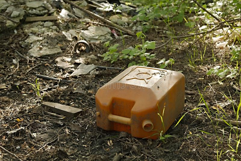 Oil can on the ground royalty free stock images