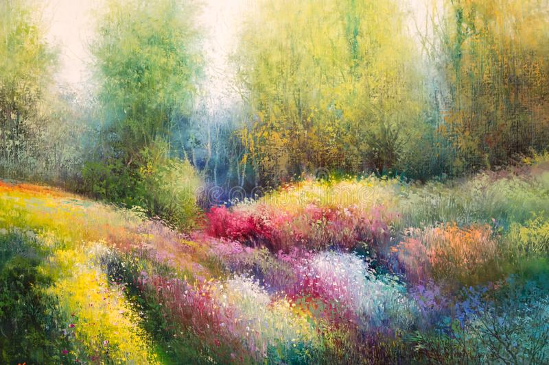 Oil Canvas Painting: Spring Meadow with Colorful Flowers and Tre stock illustration