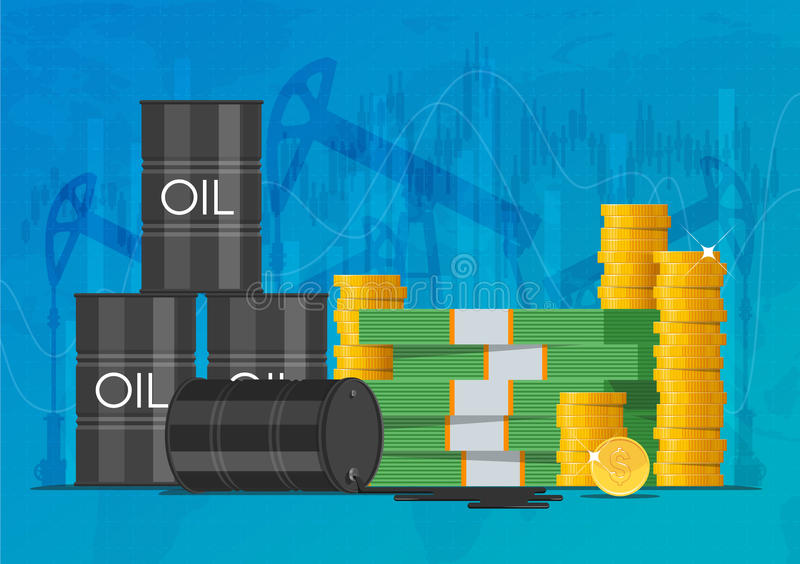 Oil cask, gold coins and piles of money. Business finance markets concept vector illustration royalty free illustration