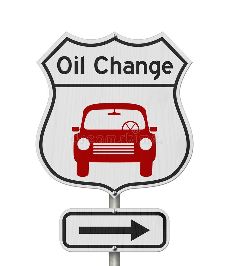 Oil change with car route 66 USA highway road sign royalty free stock photo