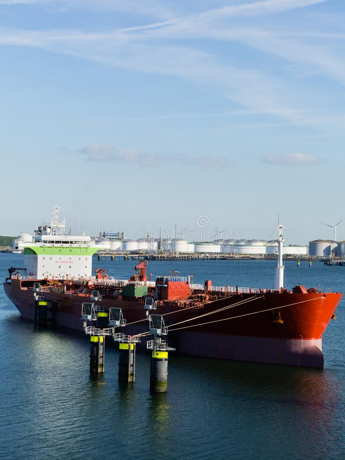 Oil or Chemical Tanker Docked at a Port stock image