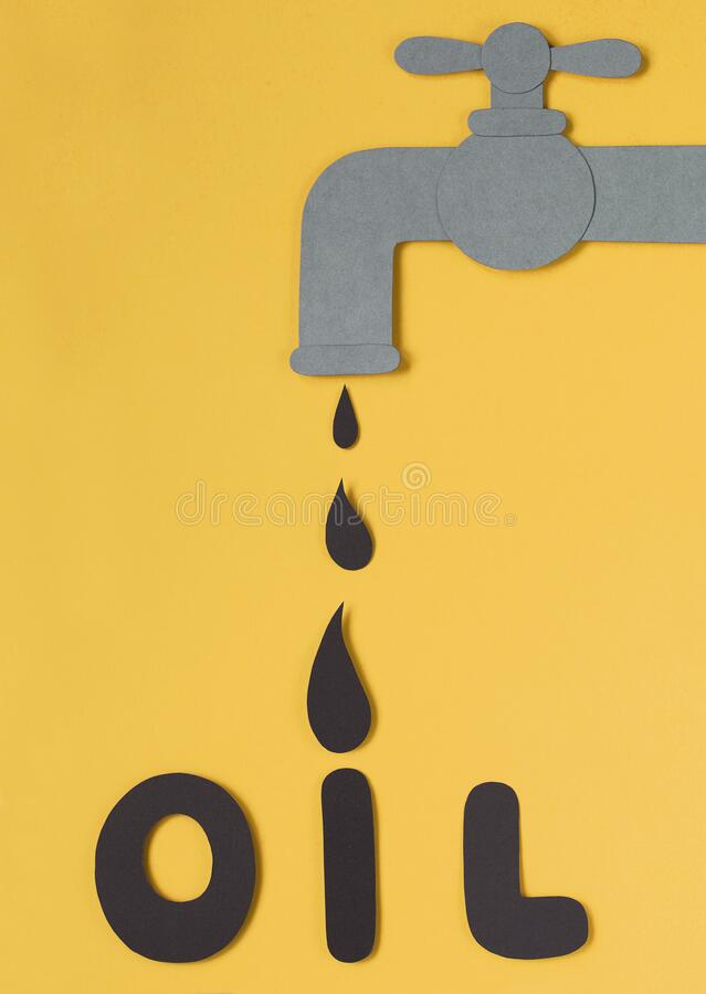 Oil concept. Black drop dripping from tap to black letters. Oil concept. stock images