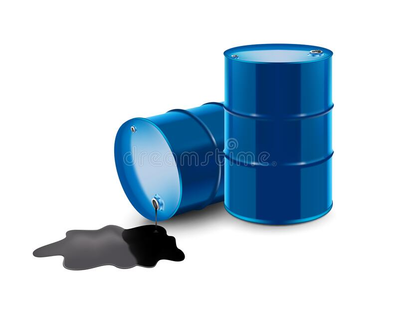 Vector realistic illustration. Barrel of oil stands and lies with spilled oil. stock image