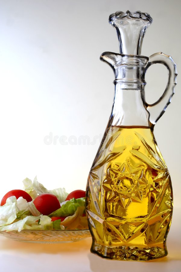 Oil Cruet and Salad royalty free stock photo