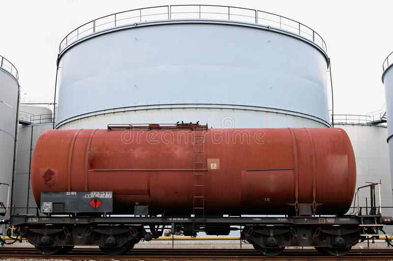 Oil depot storage tanks. Oil depot and storage tanks with train wagons in Rotterdam europort stock photography